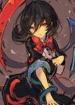 1girl black_hair bow buttons chobi_(sakuyasakuhana) downscaled dress houjuu_nue md5_mismatch red_eyes resized snake touhou