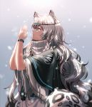 1girl animal_ear_fluff animal_ears arknights bangs black_cape cape commentary dress from_side gradient gradient_background grey_background grey_eyes hands_up head_chain leopard_ears leopard_tail long_hair own_hands_together palms_together pramanix_(arknights) profile silence_girl silver_hair solo tail turtleneck_dress upper_body white_dress wide_sleeves