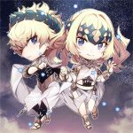 1boy 1girl armlet black_shirt blonde_hair blue_eyes bracelet bracer breasts bridal_gauntlets brother_and_sister castor_(fate/grand_order) chibi closed_mouth collar diadem fate/grand_order fate_(series) highres holding_hands interlocked_fingers jewelry looking_at_viewer medium_hair metal_collar navel no-kan parted_lips pollux_(fate/grand_order) sandals shirt short_hair siblings sky small_breasts star_(sky) starry_sky twins white_robe