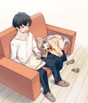 1boy 1girl 40hara animal_ear_fluff animal_ears bangs barefoot black_hair blonde_hair cat_ears cat_tail clothes collar couch eyebrows_visible_through_hair folded_clothes folding_clothes green_eyes kinako_(40hara) looking_at_another lying on_side open_mouth original pet_collar red_collar short_hair sitting slippers socks_removed sweatdrop tail