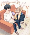 1boy 1girl 40hara animal_ear_fluff animal_ears bangs barefoot black_hair blonde_hair cat_ears cat_tail closed_eyes clothes collar couch eyebrows_visible_through_hair folded_clothes folding_clothes jumping kinako_(40hara) open_mouth original pet_collar red_collar short_hair sitting slippers surprised sweatdrop tail translation_request