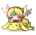 1girl =_= bangs blonde_hair blush_stickers bow bridal_gauntlets chibi closed_eyes commentary_request copyright_request eyebrows_visible_through_hair facing_viewer forehead_jewel full_body green_bow green_hairband hair_bow hairband holding holding_spear holding_weapon komakoma_(magicaltale) long_hair parted_bangs polearm shadow sleeping spear very_long_hair weapon white_background zzz