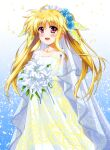 1girl bangs blonde_hair blue_flower blue_rose bouquet bridal_veil commentary dress eyebrows_visible_through_hair fate_testarossa flower hair_flower hair_ornament hair_ribbon headdress highres holding holding_bouquet long_dress long_hair looking_at_viewer lyrical_nanoha mahou_shoujo_lyrical_nanoha mizuki_nana open_mouth petals print_dress red_eyes ribbon rose smile solo standing strapless strapless_dress twintails veil wedding_dress white_dress white_flower white_ribbon yorousa_(yoroiusagi)