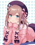 1girl :3 badge beret black_ribbon blue_eyes blush bow button_badge cardigan cross-laced_clothes dotted_background eyebrows_visible_through_hair hair_bow hair_ornament hairclip hand_on_own_cheek hat hat_pin head_rest highres light_brown_hair looking_at_viewer lying medium_hair nijisanji off_shoulder on_stomach pink_cardigan ribbon shirt skirt solo striped striped_bow striped_skirt suzuhara_lulu tadanoshi_kabane upper_body vertical-striped_skirt vertical_stripes virtual_youtuber white_shirt x_hair_ornament
