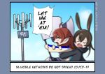 2girls absurdres acrylicstroke0205 amiya_(arknights) animal_ears arknights blue_eyes brown_hair cellular_tower english_commentary english_text highres hood hoodie jacket multiple_girls myrtle_(arknights) outdoors pointy_ears rabbit_ears