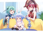 3girls :d anger_vein animal_ears bare_arms bare_shoulders black_gloves black_headwear blue_hair braid bunny_girl butterfly_hair_ornament carrot_hair_ornament coat controller cup detached_sleeves double_bun food_themed_hair_ornament fur_collar game_controller gloves gold_trim green_hair hair_ornament hat heterochromia holding holding_another's_hair hololive houshou_marine long_hair looking_at_another mug multiple_girls open_mouth orange_eyes pirate_hat playing_games playing_with_another's_hair playstation_controller rabbit_ears red_eyes red_shirt redhead roke_(taikodon) shirt short_hair sleeveless sleeveless_shirt smile spring_onion strapless stuffed_animal stuffed_panda stuffed_toy twin_braids twintails uruha_rushia usada_pekora very_long_hair white_coat white_gloves wing_collar yellow_eyes