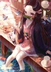 1girl absurdres bamboo bangs bit_gag blurry blurry_background blush brown_footwear brown_hair bug butterfly collarbone commentary cup day depth_of_field eumi_114 flower forehead gag hair_ribbon highres huge_filesize insect japanese_clothes kamado_nezuko kimetsu_no_yaiba kimono long_hair long_sleeves looking_at_viewer mouth_hold mug open_clothes outdoors parted_bangs petals petals_on_liquid pink_flower pink_kimono pink_ribbon reflection ribbon ripples saucer sitting sleeves_past_wrists soaking_feet solo sunlight very_long_hair water wet wide_sleeves wind_chime zouri