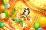 blush brown_hair dress green_eyes idolmaster_cinderella_girls_starlight_stage long_hair souma_natsumi wink