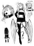 1girl 1other angry boots breasts choker cigarette demon_girl drink fangs feathered_wings glass highres juugoya_(zyugoya) kewpie_(musuko_ga_kawaikute_shikatanai_mazoku_no_hahaoya) leg_tattoo long_hair medium_breasts musuko_ga_kawaikute_shikatanai_mazoku_no_hahaoya smoking tattoo wings