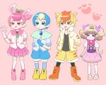 2boys 2girls animal_ears bunny_tail capelet cat_ears dog_ears dog_tail fang fur_collar gloves healin'_good_precure healing_animal highres jacket latte_(precure) multiple_boys multiple_girls nyatoran_(precure) pegitan_(precure) personification precure rabbit_ears rabirin_(precure) ridoro sailor_collar tail