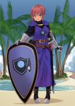1girl armor beach belt blush breasts brown_belt cape commission eyebrows_visible_through_hair full_body green_eyes highres knight large_breasts looking_at_viewer original palm_tree parted_lips redhead ryan_edian sheath sheathed shield short_hair smile solo sword tan tree upper_teeth weapon