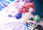 1girl :d bangs bare_shoulders blush bouquet breasts bridal_veil commentary_request curtains dress eyebrows_visible_through_hair flower from_behind green_eyes hair_flower hair_ornament highres kurosawa_ruby love_live! love_live!_sunshine!! medium_breasts night open_mouth redhead shiny smile solo two_side_up veil wedding wedding_dress white_dress yukimai