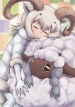 1girl animal_ears black_hair bodystocking closed_eyes closed_mouth coat crossover dall_sheep_(kemono_friends) eyebrows_visible_through_hair fur-trimmed_sleeves fur_trim gen_8_pokemon grey_hair hair_between_eyes head_rest highres horns hug kemono_friends kotobukkii_(yt_lvlv) long_hair multicolored_hair pokemon pokemon_(creature) pokemon_(game) pokemon_swsh sheep sheep_ears sheep_horns sheep_tail smile standing tail trait_connection two-tone_hair wavy_mouth wooloo