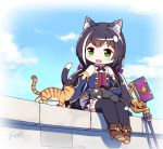 1girl animal_ear_fluff animal_ears animal_on_lap bangs black_hair black_legwear blush cat cat_ears cat_on_lap cat_tail chibi detached_sleeves fang foot_dangle green_eyes highres kyaru_(princess_connect) langbazi legs_together long_hair low_twintails multicolored_hair on_wall open_mouth princess_connect! princess_connect!_re:dive sitting skin_fang solo streaked_hair tail thigh-highs twintails
