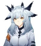 1girl arknights armband bangs commentary eyebrows_visible_through_hair highres jacket long_hair looking_at_viewer pointy_hair ptilopsis_(arknights) shinidei silver_hair simple_background solo upper_body white_background white_jacket yellow_eyes