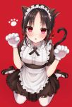 1girl :o absurdres animal_ears apron bangs black_dress black_footwear black_hair blush breasts cat_ears cat_paws cat_tail commentary_request dress eyebrows_visible_through_hair from_above hair_ribbon highres kaguya-sama_wa_kokurasetai_~tensai-tachi_no_renai_zunousen~ kneehighs large_breasts looking_at_viewer maid_apron maid_dress maid_headdress parum39 paw_print paws red_background red_eyes red_ribbon ribbon shinomiya_kaguya shoes short_sleeves simple_background sitting solo tail white_legwear