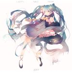 1girl 42441ney bare_shoulders blue_dress blue_eyes blue_gloves blue_hair blue_ribbon blue_scarf blue_sleeves chinese_commentary constellation_print detached_sleeves dress fingerless_gloves full_body gloves hair_ornament hair_ribbon happy_new_year hatsune_miku highres long_hair looking_at_viewer new_year open_mouth petticoat rabbit rabbit_yukine ribbon scarf signature smile star star_hair_ornament striped striped_ribbon twintails very_long_hair vocaloid yuki_miku yuki_miku_(2017)