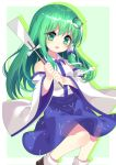 1girl blue_skirt brown_footwear child detached_sleeves frog_hair_ornament gohei green_background green_eyes green_hair hair_ornament hair_tubes hairclip highres japanese_clothes kochiya_sanae long_hair miko open_mouth shirt shoes simple_background skirt smile snake_hair_ornament socks solo touhou white_footwear white_shirt younger yuujin_(mhhnp306)