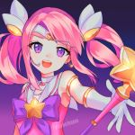 1girl :d absurdres bow bowtie breasts choker circlet earrings elbow_gloves gloves headgear highres jewelry league_of_legends long_hair looking_at_viewer luxanna_crownguard magical_girl open_hand open_mouth pink_hair pink_theme purple_bow ribbon small_breasts smile solo staff star star_earrings star_guardian_(league_of_legends) star_guardian_lux tiara twintails upper_body violet_eyes yaya_chan