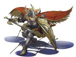 1girl absurdres armor arrow blonde_hair breastplate brown_eyes cape chainmail commentary_request faulds feather_trim full_armor full_body gauntlets googerm greaves helmet highres horned_helmet original plate_armor ponytail sabaton sheath shield solo sword valkyrie weapon white_background winged_helmet