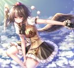 1girl above_clouds artist_name bangs bare_legs black_bow black_hair black_nails black_neckwear black_skirt black_wings blue_sky bow bowtie breasts camera clouds commentary day eyebrows_visible_through_hair feathered_wings feet_out_of_frame glint hair_between_eyes hat highres holding holding_camera leaf_print light_rays looking_at_viewer medium_breasts miniskirt nail_polish outdoors outstretched_arm petticoat pom_pom_(clothes) pudding_(skymint_028) puffy_short_sleeves puffy_sleeves red_eyes shameimaru_aya shirt short_hair short_sleeves signature skirt sky solo tokin_hat touhou white_shirt wings