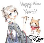 2018 :d absurdres blue_eyes blush bow bright_pupils buttoniris calligraphy_brush chinese_zodiac commentary dog english_commentary english_text eyebrows_visible_through_hair fang fingernails folded_ponytail from_behind grey_kimono happy_new_year highres japanese_clothes kimono long_sleeves looking_at_viewer looking_back new_year open_mouth original paint_on_face paintbrush simple_background skin_fang smile white_background wide_sleeves year_of_the_dog