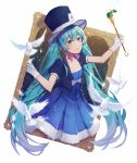 1girl ace_of_spades aqua_eyes aqua_hair bird blue_dress blue_headwear blue_jacket bow bowtie card collarbone dove dress feathers gloves hat hatsune_miku holding holding_wand jacket magical_mirai_(vocaloid) painting_(object) playing_card solo star striped top_hat twintails upper_body vertical_stripes vocaloid wand wenz white_background white_gloves