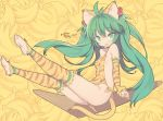1girl animal_ears banana barefoot blade_(galaxist) blush breasts cham_cham eyebrows_visible_through_hair fang food fruit green_eyes green_hair hair_ornament kneehighs looking_at_viewer orange_legwear samurai_spirits skin_fang small_breasts snk solo striped striped_legwear tail tiger_ears tiger_tail twintails yellow_background