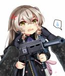 1girl alternate_costume anger_vein ascot bag black_dress black_gloves brz cheek_pinching dress fingerless_gloves girls_frontline gloves gun h&k_ump45 hair_between_eyes highres holding holding_gun holding_weapon long_hair long_sleeves open_mouth pinching pov pov_hands scar scar_across_eye simple_background solo_focus spoken_sweatdrop sweatdrop two-tone_dress ump45_(girls_frontline) weapon white_background white_dress yellow_eyes younger