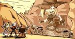 1boy 3girls ammunition belt blonde_hair bomb bonnet boots chaps clouds commission cowboy_hat day desert dress dynamite explosive fingernails fuse giantess gloves gun handgun hat hill lamia long_hair monster_girl multiple_girls one_eye_covered original outdoors pointy_ears revolver rifle setz sky snake vest weapon western