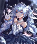 1girl amulet bare_shoulders blue_dress blurry blurry_background bubble cane capelet caron collar commentary curtains detached_collar detached_sleeves dress eighth_note finger_to_mouth framed_breasts hair_ornament hand_up hatsune_miku highres holding_cane index_finger_raised light_blue_eyes light_blue_hair long_sleeves looking_at_viewer musical_note musical_note_hair_ornament neck_ruff petticoat plaid_capelet princess puffy_long_sleeves puffy_sleeves rabbit rabbit_yukine rainbow smile snowflake_hair_ornament strapless strapless_dress tiara upper_body vocaloid white_collar window yuki_miku yuki_miku_(2019)