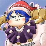 1girl :3 avatar_icon blue_background blue_eyes blush capelet chamaji check_commentary commentary commentary_request doreking doremy_sweet eyebrows_visible_through_hair frog_eyes hat horns lowres open_mouth pom_pom_(clothes) santa_hat sheep sheep_horns short_hair signature simple_background solo touhou upper_body