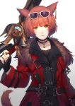 1girl animal_ears arm_at_side bangs brown_hair buckle caidychen choker closed_mouth coat collarbone ear_tag english_commentary eyebrows_visible_through_hair eyewear_on_head final_fantasy final_fantasy_xiv fur-trimmed_coat fur_trim gradient gradient_background green_eyes hand_up heterochromia holding holding_weapon jewelry light_smile lips long_sleeves looking_at_viewer miqo'te pendant pink-framed_eyewear red_coat solo standing strap sunglasses tail weapon whisker_markings white_background yellow_eyes
