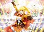 blonde_hair cape gloves guns long_hair ootsuki_aruru ponytail shoujo_kageki_revue_starlight smile wink yellow_eyes