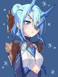 1girl aqua_eyes aqua_hair blue_background blue_eyes breasts chobi0521 eyepatch hair_bun horns seori_(xenoblade) short_hair small_breasts solo upper_body xenoblade_(series) xenoblade_2