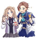 1boy 1girl :t absurdres aqua_eyes ascot bangs black_bow black_neckwear blue_eyes blue_neckwear bow bowtie brooch brother_and_sister brown_hair cake capelet commentary cup drinking_glass eating eyebrows_visible_through_hair food fork fruit genderswap genderswap_(ftm) genderswap_(mtf) grey_skirt highres jewelry katarina_claes keith_claes light_brown_hair long_hair long_sleeves looking_at_another mutton_(user_hafp8324) otome_game_no_hametsu_flag_shika_nai_akuyaku_reijou_ni_tensei_shite_shimatta pleated_skirt pointing pointing_at_self siblings simple_background skirt sparkle strawberry swept_bangs twintails white_background