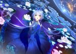 1girl bangs blue_dress blue_gloves blue_hair bow catcan collarbone dress elbow_gloves eyebrows_visible_through_hair floating_hair gloves gradient_hair green_eyes hair_between_eyes hair_bow hands_clasped highres long_dress long_hair looking_at_viewer looking_up low_twintails luo_tianyi multicolored_hair open_mouth own_hands_together purple_bow purple_hair shiny shiny_hair sky sleeveless sleeveless_dress solo space star_(sky) starry_sky tied_hair twintails very_long_hair vocaloid