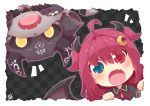 1girl :o ahoge bangs black_capelet blue_eyes blush brown_wings capelet checkered checkered_background chibi crescent crescent_hair_ornament debidebi_debiru demon demon_girl demon_horns demon_wings eyebrows_visible_through_hair fangs frilled_capelet frills hair_between_eyes hair_ornament heterochromia horns long_hair looking_at_viewer neck_ribbon nijisanji notice_lines open_mouth red_eyes red_ribbon redhead reku ribbon two_side_up v-shaped_eyebrows virtual_youtuber wings yuzuki_roa