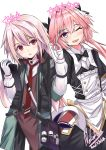 2boys absurdres ansel_(arknights) arknights astolfo_(fate) astolfo_(saber)_(fate) black_bow black_legwear black_neckwear black_ribbon black_skirt bow bowtie braid color_connection fang fate/apocrypha fate/grand_order fate_(series) hair_color_connection hair_intakes highres layered_skirt long_hair look-alike low_twintails male_focus multicolored_hair multiple_boys nekobox otoko_no_ko pink_hair red_eyes ribbon single_braid skin_fang skirt streaked_hair trait_connection twintails violet_eyes white_hair wing_collar
