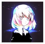 1other black_shirt blue_eyes blue_hair border buttoniris closed_mouth commentary diamond_(houseki_no_kuni) english_commentary highres houseki_no_kuni looking_at_viewer multicolored multicolored_eyes multicolored_hair pink_eyes pink_hair shirt short_hair white_border white_hair wing_collar