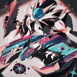blue_eyes commentary commentary_request creature dreishzu french_commentary gen_7_pokemon legendary_pokemon lunala mixed-language_commentary no_humans pokemon pokemon_(creature) solgaleo sparkle tapu_koko violet_eyes
