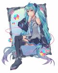 1girl aqua_eyes aqua_hair aqua_neckwear bare_shoulders black_gloves black_legwear black_skirt black_sleeves boots cable cube detached_sleeves full_body gloves grey_shirt hair_ornament hatsune_miku headphones holding holding_microphone light_smile long_hair looking_at_viewer magical_mirai_(vocaloid) microphone necktie painting_(object) shirt shoulder_tattoo skirt sleeveless sleeveless_shirt solo tattoo thigh-highs thigh_boots twintails very_long_hair vocaloid wenz white_background zettai_ryouiki