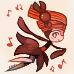 commentary creature english_commentary from_side full_body gen_4_pokemon meloetta meloetta_(pirouette) musical_note no_humans pokemon pokemon_(creature) red_theme rubin running signature simple_background solo white_background
