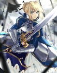 1girl absurdres ahoge armor armored_dress artoria_pendragon_(all) blonde_hair breasts commentary dress excalibur eyebrows_visible_through_hair fate/stay_night fate_(series) gauntlets green_eyes hair_ribbon highres holding holding_sword holding_weapon huge_filesize kanniepan ribbon saber short_hair solo sword weapon