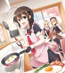 4girls ahoge asymmetrical_clothes bacon black_hair black_ribbon black_serafuku black_skirt blonde_hair blue_eyes braid breakfast breasts brown_eyes brown_hair egg food fried_egg gradient_hair hair_flaps hair_ornament hair_over_shoulder hair_ribbon hairband hairclip heterochromia kantai_collection kitchen light_brown_hair long_hair messy_hair morning multicolored_hair multiple_girls murasame_(kantai_collection) necktie orange_eyes orange_hairband plate pleated_skirt red_eyes red_hairband remodel_(kantai_collection) ribbon scarf school_uniform serafuku shigure_(kantai_collection) shiratsuyu_(kantai_collection) short_hair single_braid skirt straight_hair sunny_side_up_egg table twintails two_side_up white_scarf yume_no_owari yuudachi_(kantai_collection)