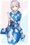 1girl ahoge blue_background blue_kimono braid breasts checkered checkered_background eyelashes floral_print flower furisode green_eyes hair_flower hair_ornament highres holding holding_paper hololive japanese_clothes kimono kokechan large_breasts looking_at_viewer new_year obi omikuji open_mouth paper pink_background sash seiza shirogane_noel short_hair side_braid silver_hair sitting smile solo two-tone_background virtual_youtuber yagasuri