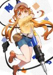 1girl :o bag bandaid bandaid_on_forehead blue_shorts boots breast_pocket brown_bag cable commentary_request floating hana_(h6n6_matsu) highres holding holding_pen jacket looking_at_viewer one_eye_closed orange_eyes orange_footwear orange_hair original oversized_object pen pocket shirt shirt_tucked_in shorts sleeves_rolled_up solo suspender_shorts suspenders twintails visor white_headwear white_shirt yellow_jacket