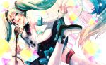 1girl bare_shoulders black_skirt boots cube detached_sleeves double-breasted dress dutch_angle eighth_note frilled_skirt frills from_side hair_ornament hatsune_miku highres holding holding_wand leg_up long_hair looking_at_viewer looking_to_the_side magical_mirai_(vocaloid) microphone microphone_wand musical_note musical_note_print open_mouth outstretched_arm ponita skirt sleeveless sleeveless_dress sleeves_past_wrists smile solo thigh-highs thigh_boots twintails very_long_hair vocaloid wand white_dress white_legwear white_sleeves wings