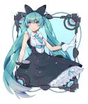 1girl aqua_eyes aqua_hair aqua_neckwear bare_shoulders black_bow black_dress bow cable dress frame framed_breasts gloves hair_bow hatsune_miku hoop_skirt long_hair looking_to_the_side magical_mirai_(vocaloid) necktie petticoat short_necktie smile solo twintails very_long_hair vocaloid wenz white_background white_gloves