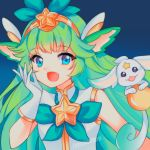 1girl :d absurdres animal_ears aqua_eyes bow fang gloves green_hair green_theme hair_bow headpiece highres league_of_legends long_hair looking_at_viewer lulu_(league_of_legends) magical_girl open_mouth pix smile star star_guardian_(league_of_legends) star_guardian_lulu tiara upper_body very_long_hair white_gloves yaya_chan yordle